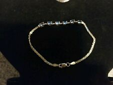 "10k Yellow Gold 7"" Bracelet With Blue Topaz Stones Baith"