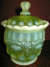 Vaseline Opalescent glass eyewinker pattern Candy dish uranium sugar bowl yellow
