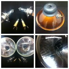 "CLASSIC CAR 7"" SEALED BEAM HALOGEN CONVERSION HEADLIGHT KIT WITH BULBS H4 6J1"