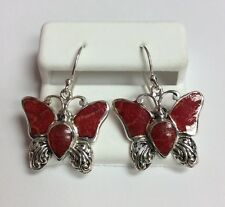 REAL STERLING SILVER Butterfly Design Dangle Style Red Coral EARRINGS 4.7g