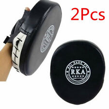 2 Black Leather Focus Pads Hook Jab MMA Boxing Kick Curved Mitt Glove Thai Muay