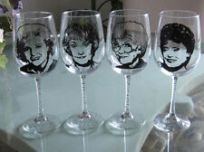 Hand Painted Libbey clear Wine Glass - SET of - THE GOLDEN GIRLS