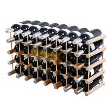 New 40 Bottle Wood Wine Rack 5 Tier Storage Display Shelves Kitchen Natural