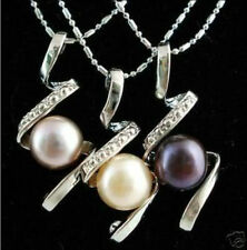 "3pcs Black White Purple Akoya Pearl Pendants Necklace 17""AAA"