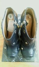 LAMB Black Leather Peep toe Shoes with Gold tone details Size 8