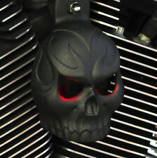 Skull Horn Cover. Evil Twin lighted eyes. Textured black.  Harley. PCETL-1