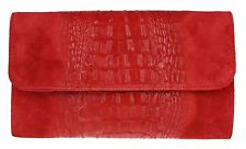 Croc Print Genuine Suede Clutch Bag Italian Leather Made in Italy Handbag Ladies