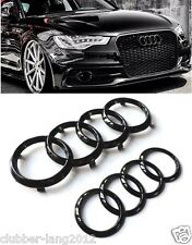 AUDI GLOSS BLACK REAR FRONT RINGS BADGE EMBLEMS BONNET BOOT A1 A3 A4 A5 S3 RS3