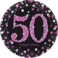 8 x Pink Celebration Age 50 Paper Plates Pink & Black 50th Birthday tableware
