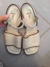 ECCO LEATHER Cream & Brown LOW HEEL ANKLE STRAP SANDALS SZ 4 WORN ONCE