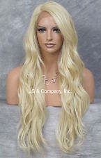 "Heat Safe long Wavy Layered LACE FRONT WIG Pale Blonde L Mono Part 24"" AUR 613"