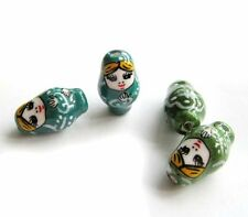 4Pcs Hand Painted Porcelain Beauty Lady Beads Finding--Jewelry Beads