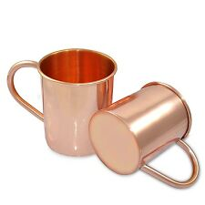COPPER MOSCOW MULE MUGS PLAIN SET OF 2 TEA COFFEE BEER WINE JUICE MUG