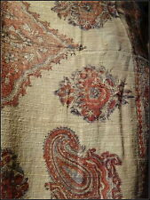 Vintage/Antique Ethnic Indian Rough Handwoven Cotton Paisley Hand Printed Shawl