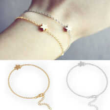 2PCS Fashion Women Star Charm Bracelet Korean Girls Gold Silver Chain Jewelry