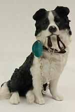 Border Collie Ornament Sitting Dog Figurine 'Walkies' by Leonardo New and Boxed
