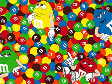 FAT QUARTER  M & M FRIENDS MARS CANDIES QUILTING FABRIC  LICENSED COTTON FABRIC