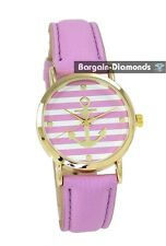 ladies lilac navy anchor gold tone casual fashion watch leather nautical boat