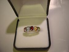 BEAUTIFUL SOLID SILVER CHUNKY RING-HALF ETERNITY OF REAL STONES-UNUSUAL-SIZE L