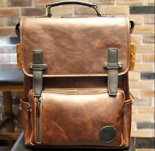 PO5 Men's boy Leather backpack rucksack messenger vintage briefcase laptop bags