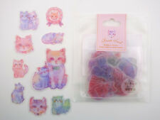 Kawaii Japanese cat sticker flakes! Cute pastel fluffy kittens, emoticon faces