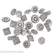 G0 50PCs Mixed Antique Silver Round Metal Buttons Flower Sewing Scrapbooking