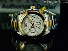 Invicta Mens 40mm Speedway Professional Chrono Gold Two Tone White Dial SS Watch