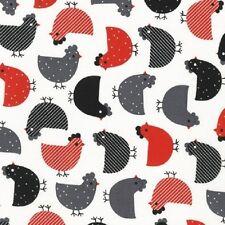 Robert Kaufman Tessuto di cotone. Urban Zoologie polli in rosso e Galline. dal FQ