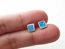 BLUE FIRE OPAL LADIES JEWELRY 925K STERLING SILVER  GEMSTONE EARRINGS SQUARE