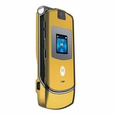 Motorola RAZR V3 Gold Unlocked flip Mobile Phone New Condition With Accessories