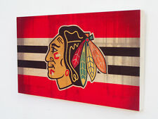 CHICAGO BLACKHAWKS Wood Sign - Wooden Plaque with Blackhawks Logo