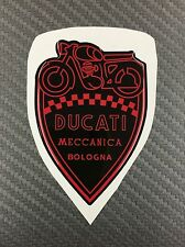 1 Stickers Scudetto DUCATI Meccanica Vintage Black & Red 3D resinato 100 mm