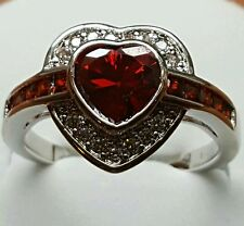 GARNET/WHITE TOPAZ ACCENTS HEART STERLING RING SIZE 7/9/10