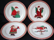 SET 4 SAKURA DEBBIE MUMM MAGIC OF SANTA SALAD DESSERT PLATES HOLIDAY CHRISTMAS