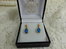 9ct 9carat Yellow Gold Blue Lab-created Opal Drop Earrings,