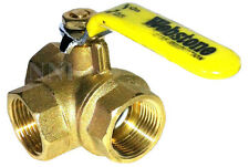 "3 Way Brass Ball Valve, Full L- Port 3/4"" Female NPT 600WOG"