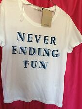 "White T Shirt size XS by Monkl ""Never Ending Fun"""