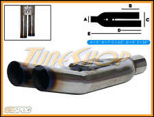 "ASPEC BLASTPIPES LEFT BURNT TIPS 3"" INLET T-304 UNIVERSAL MUFFLER EXHAUST"