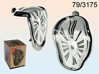 SALVADOR DALI STYLE NOVELTY MELTING SHELF SITTING CLOCK MODERN SILVER COLOUR NEW