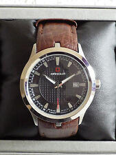 SALE Hanowa Hand Made Swiss Military Brown Leather Strap Watch – NEW