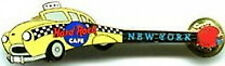 Hard Rock Cafe NEW YORK 1999 Taxi Cab GUITAR PIN Gold w/CLASP Back - HRC #6421