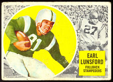 1960 TOPPS CFL FOOTBALL 26 EARL LUNSFORD VEX CALGARY STAMPEDERS OKLAHOMA COWBOYS