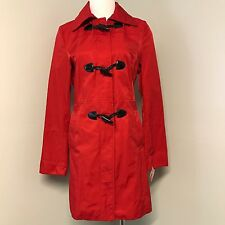 New Nautica S Toggle Button Zip Up Deep Sea Red Hooded Jacket Raincoat Holiday