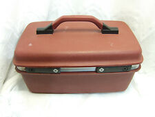 Vintage Samsonite Hardcase Train Case Burgundy Luggage Makeup Carry-On Nice