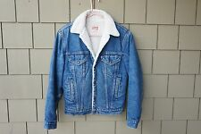 VTG Mens Levis Trucker Sherpa Jacket USA MADE 36 L Jacket Coat Retro Jean Denim