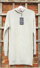 BNWT M&S Collection 100% Cashmere Silver Grey Funnel Neck Tunic Jumper (Size 8)