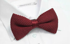 Men Knitted Knit Wedding Double Layer Pre-tie Bowtie Bow Tie Burgundy Wine Red