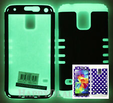 Hybrid Silicone Cover Case for Samsung Galaxy S5 i9600 Glow Dark/Dots Purple