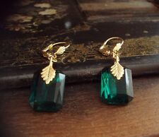 Vintage Emerald Green Crystal Drop Hook Pierced Earrings