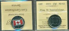 """New"" 2015 Canada 25 Cent Flag 50 Years;Colour ICCS MS-65"